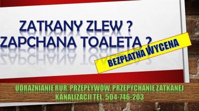 Udrożnienie zapchanej rury, tel. 504-746-203. Czyszenie zatkanej kanlizacji, cena, Wrocław. atkany zlew, zapchana toaleta . Przepychanie rur, spiralą elektryczną. Cennik usług hydraulicznych.