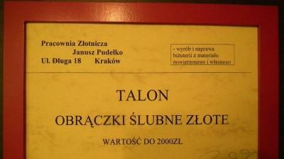 Voucher na obrączki sprzedam - Kraków