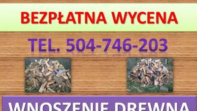 Wnoszenie drewna kominkowego, tel. 504-746-203, wniesienie opału, cena, Wrocław
