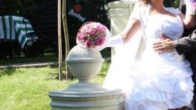 Wyjątkowa suknia ślubna krótka z przodu - 40/42