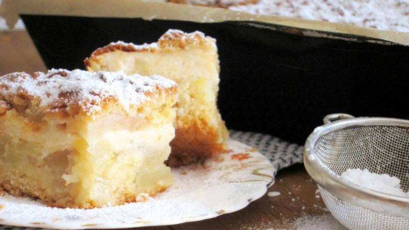 Ciasto z jabłkami i budyniem - Kasia gotuje z Polki.pl