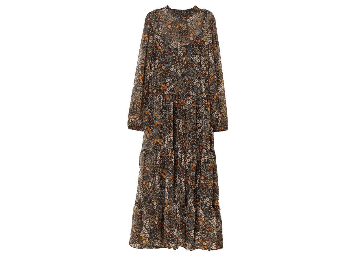 Szyfonowa sukienka we wzory, H&M, cena ok. 139,90 zł (z 149,90 zł)