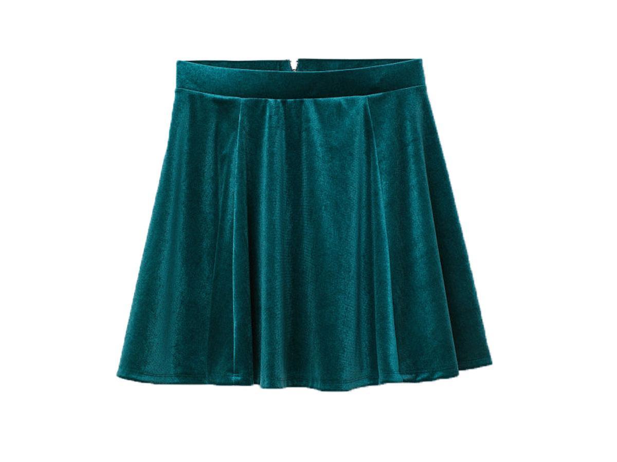 Welurowa spódnica rozkloszowana H&M