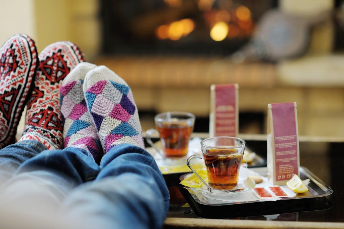zima, skarpetki, kobieta, relaks, para