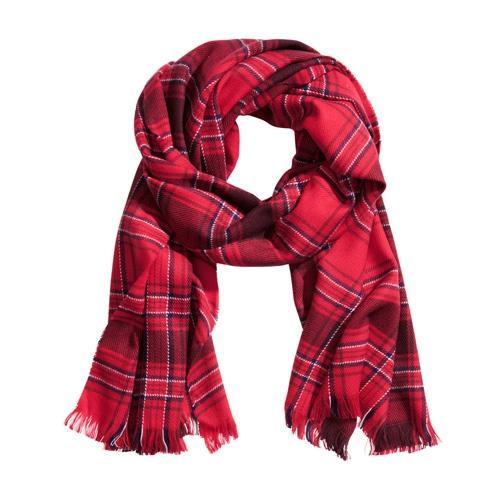 H&M, czerwony szal w kratę