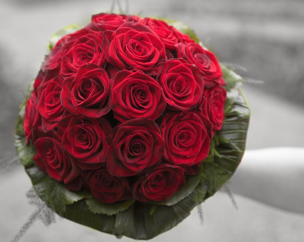 Bukiet kula z czerownych róż