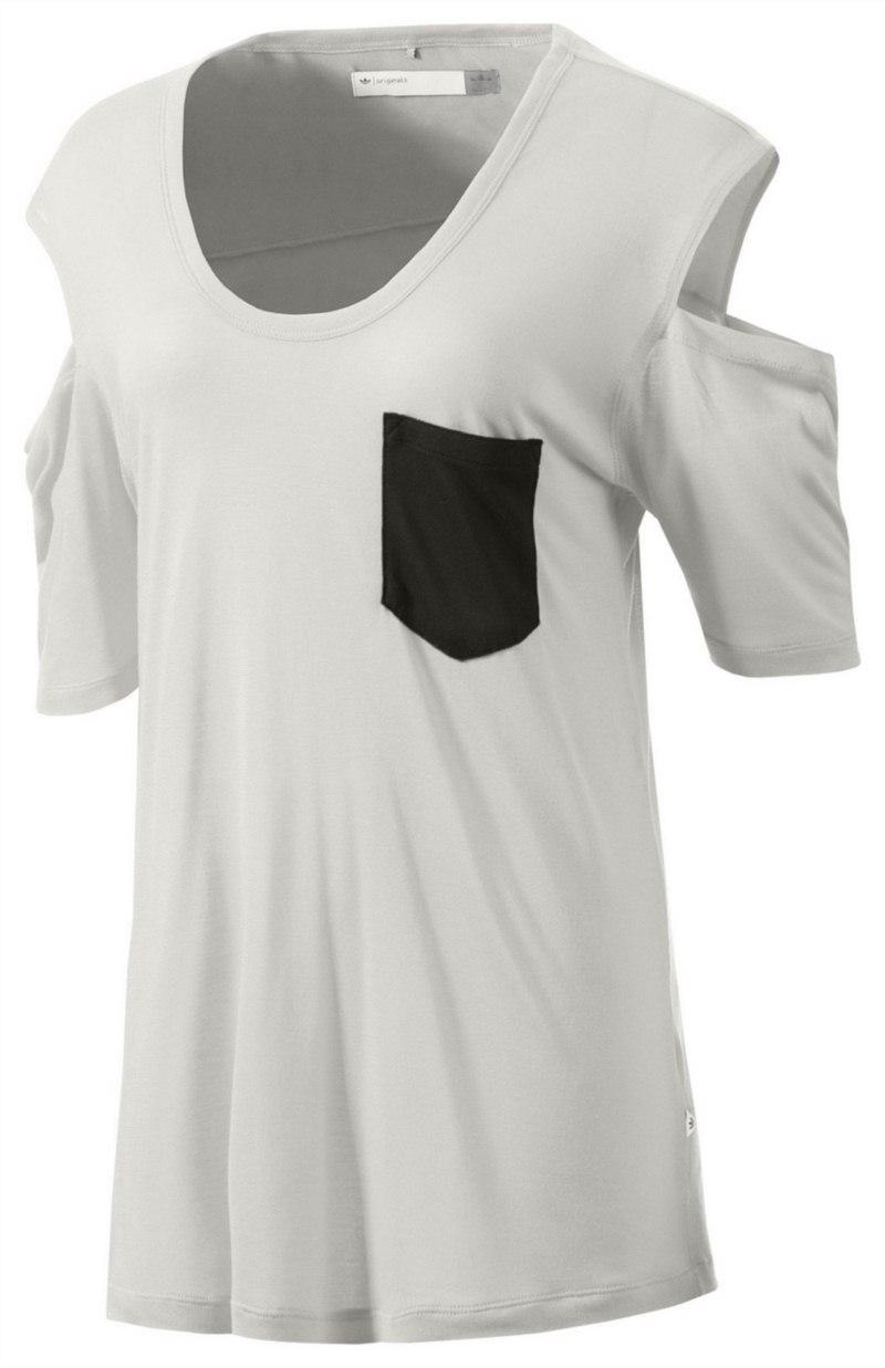 biały t-shirt Adidas z kieszonką - kolekcja wiosenno-letnia