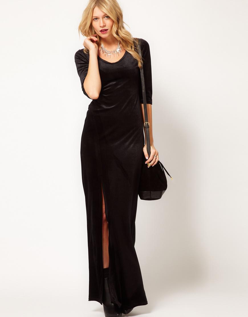 e9c65987455be0 aksamitna sukienka wieczorowa Asos w kolorze czarnym - Aksamitne ...