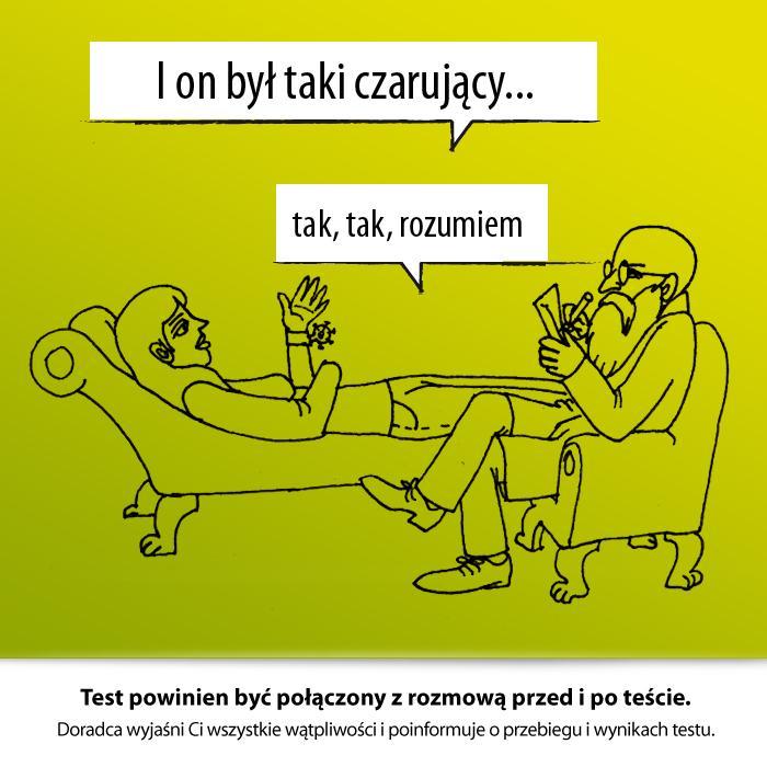 Wykonanie testu powinno być poprzedzone rozmową ze specjalistą