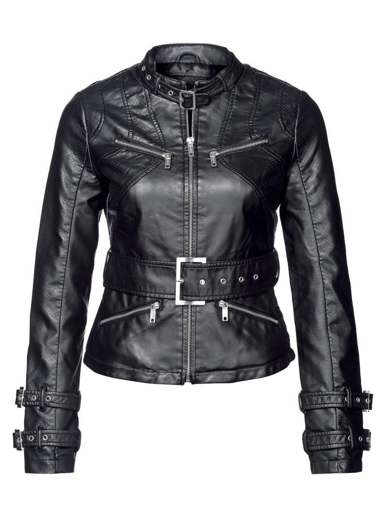 czarna kurtka New Yorker ze skóry - kolekcja wiosenna