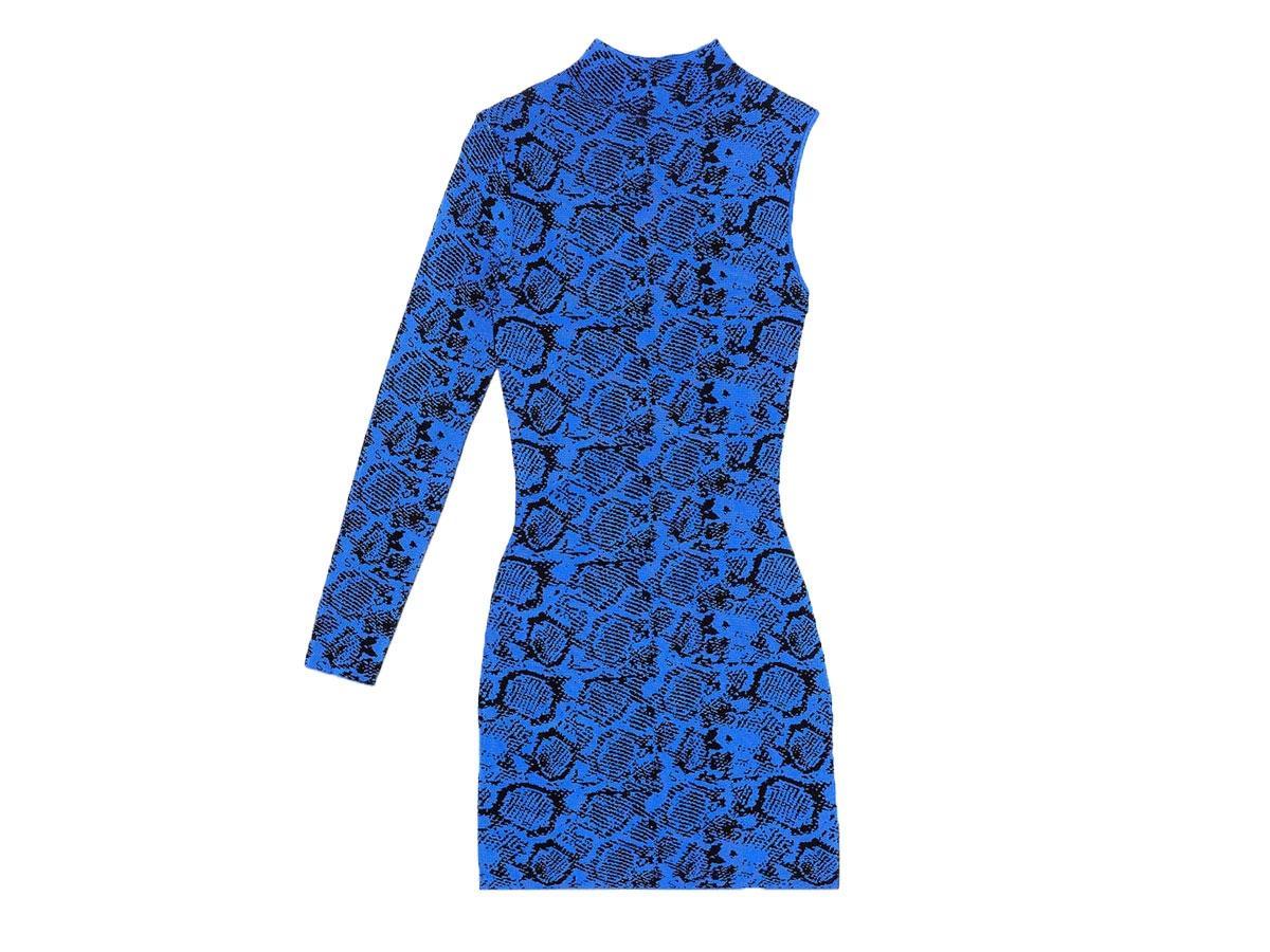 Niebieska sukienka w zwierzęcy wzór, Zara, cena ok. 139,00 zł