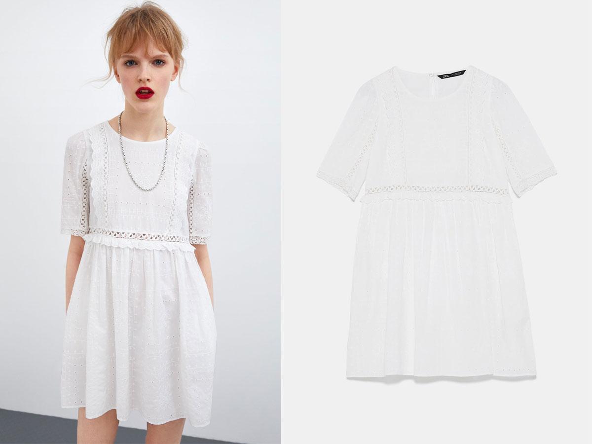 Biała ażurowa sukienka, Zara, cena ok. 139,00 zł