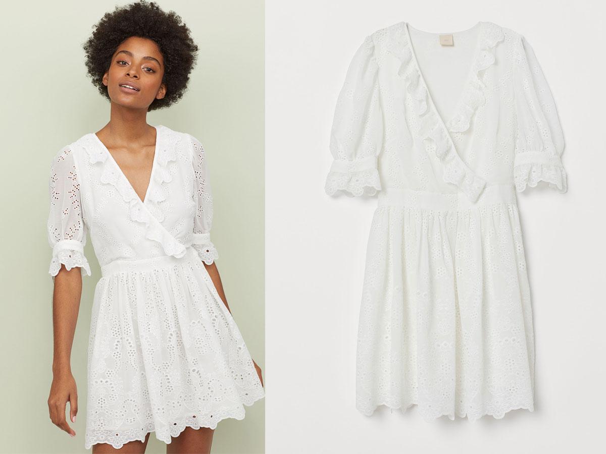 Ażurowa sukienka z falbankami, H&M, cena ok. 279,99 zł