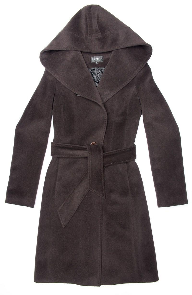 brązowy płaszcz Aryton z kapturem - jesień/zima 2011/2012