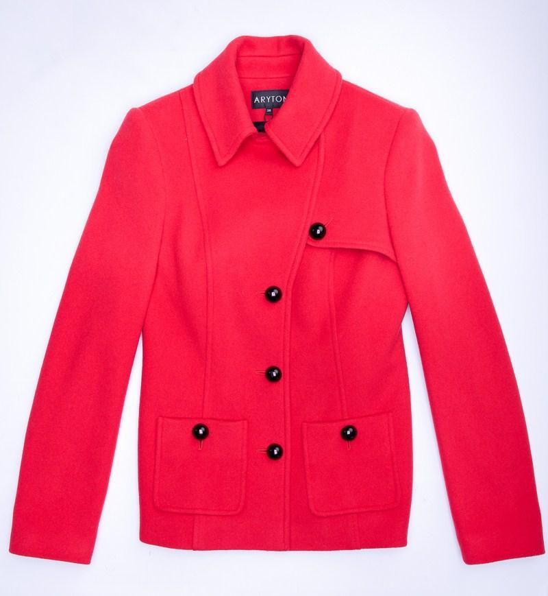 czerwony płaszcz Aryton z kieszeniami - jesień/zima 2011/2012