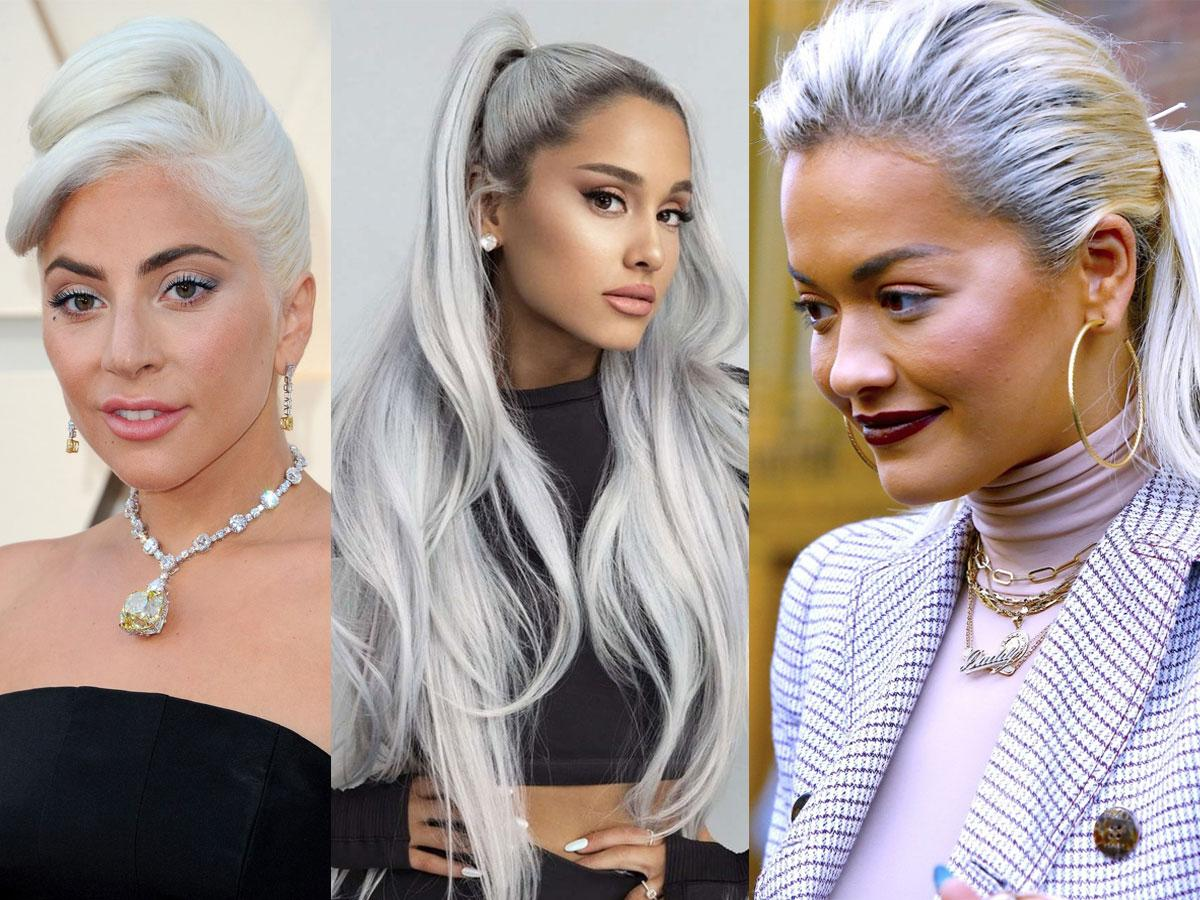 Ash silver blond: Lady Gada, Ariana Grande, Rita Ora