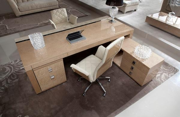 Wyjątkowe masywne biurko w kolorze brązu aranżacja biura z Patt Mebel