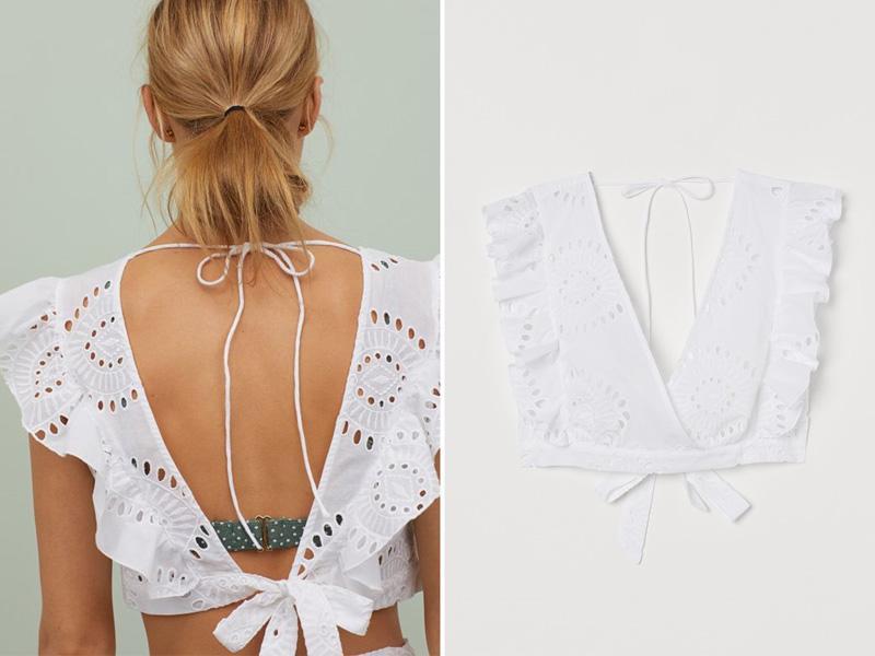 Ażurowy biały top plażowy H&M
