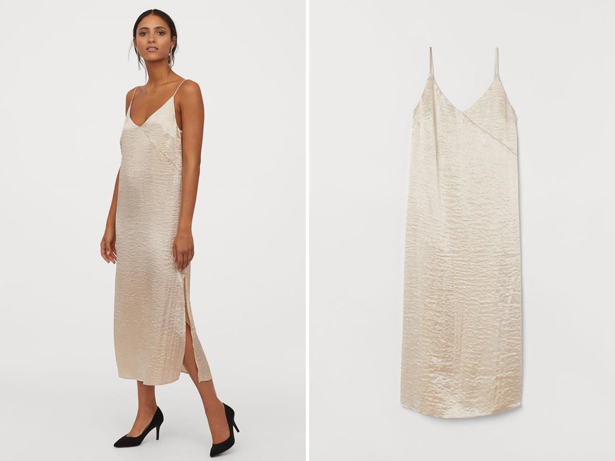 Beżowa sukienka bieliźniana H&M
