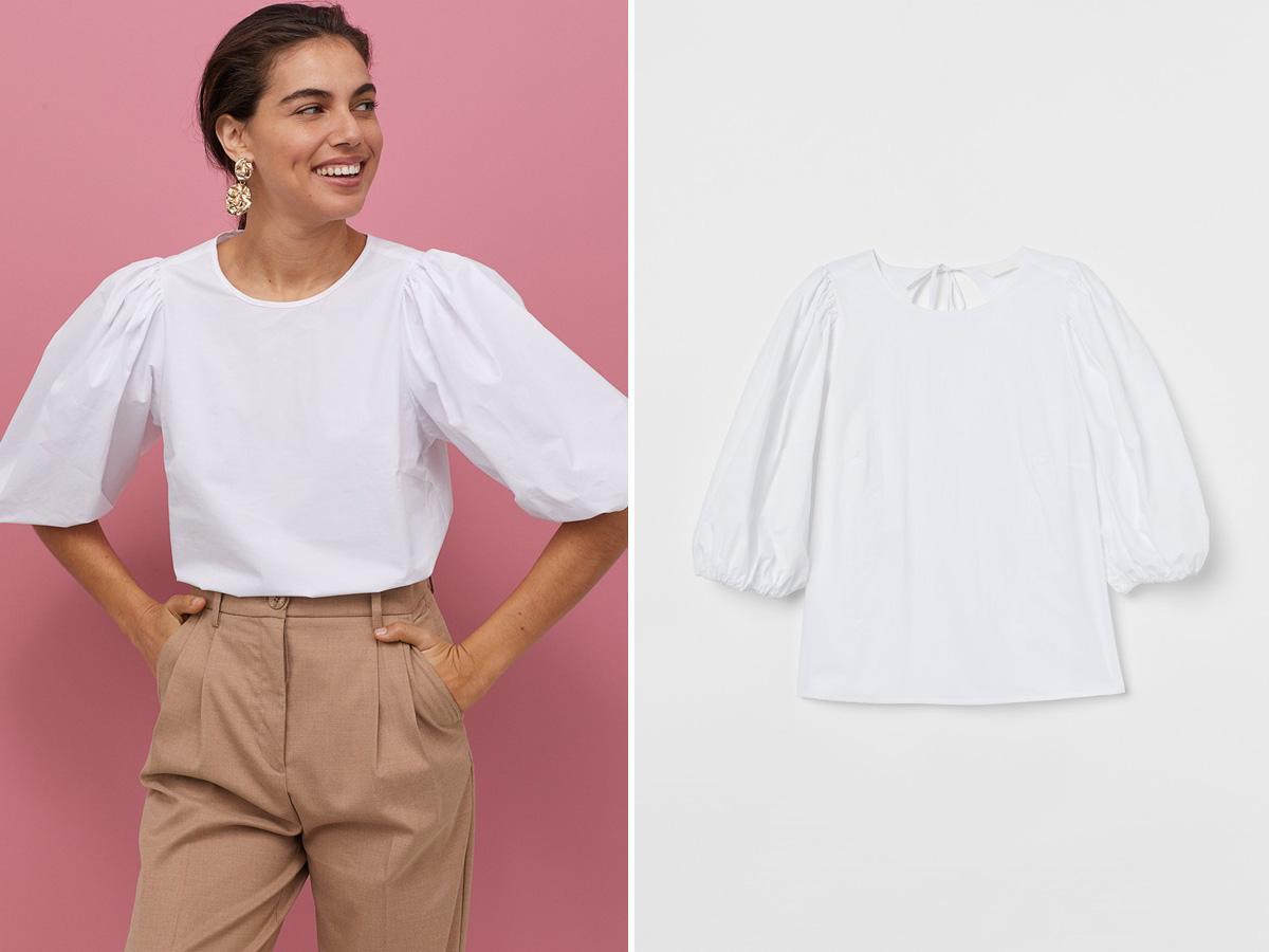 biała bluzka z bufiastymi rękawami H&M
