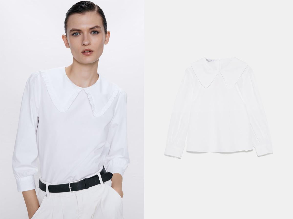 biała bluzka z kołnierzem Zara