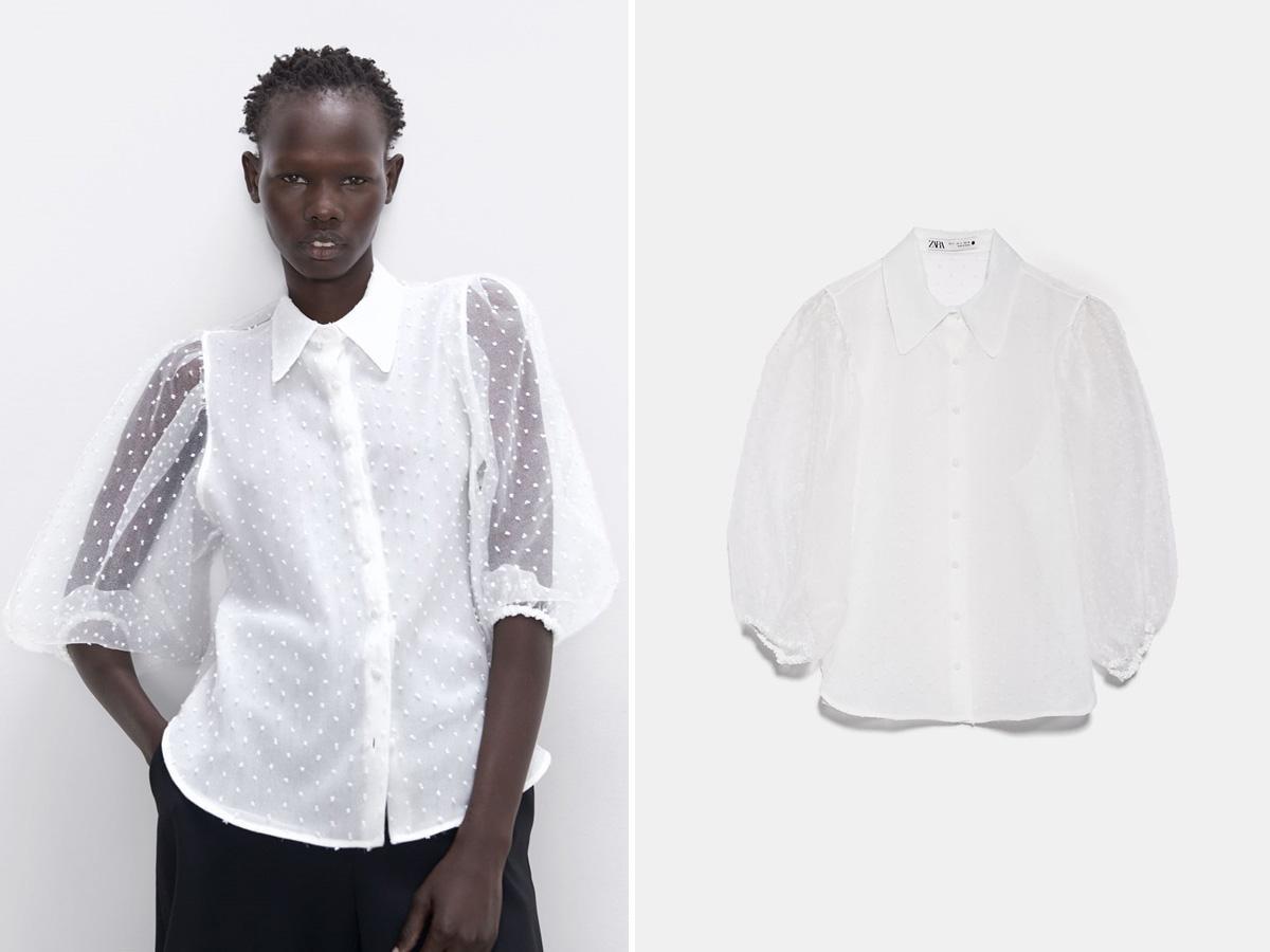białą bluzka z organzy Zara