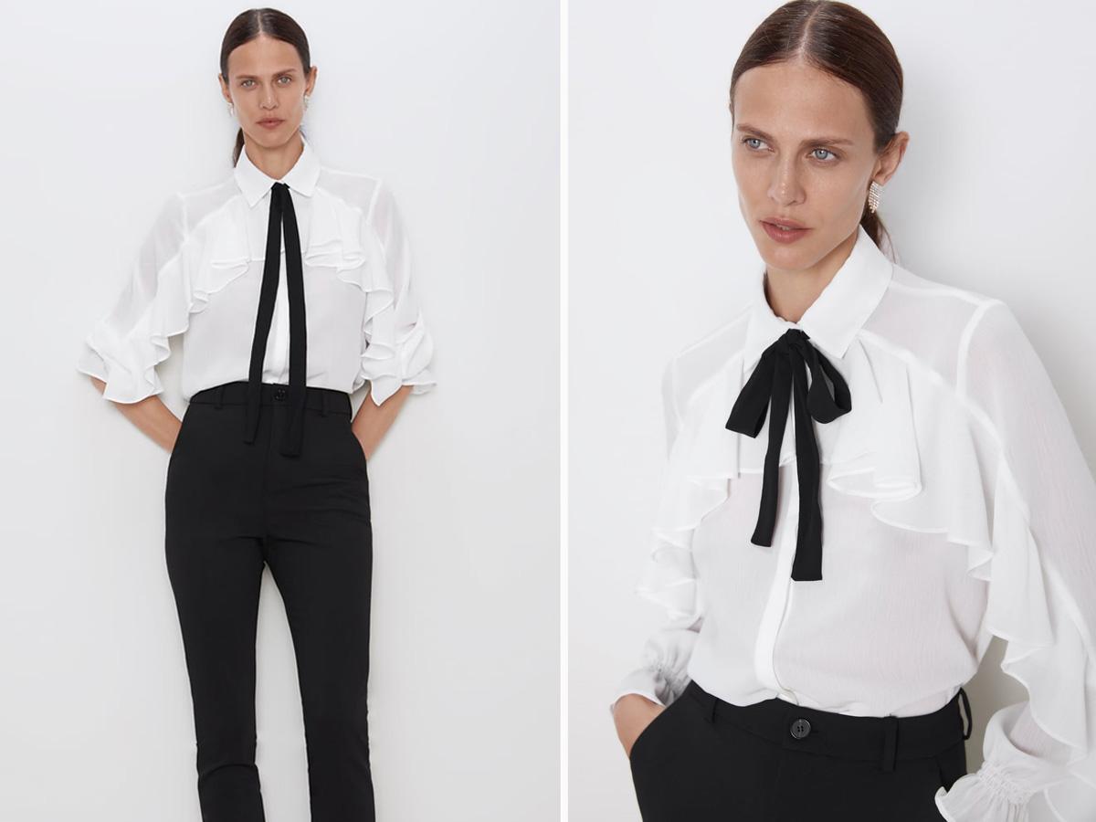 Biała koszula kokardą - Zara jesień 2019