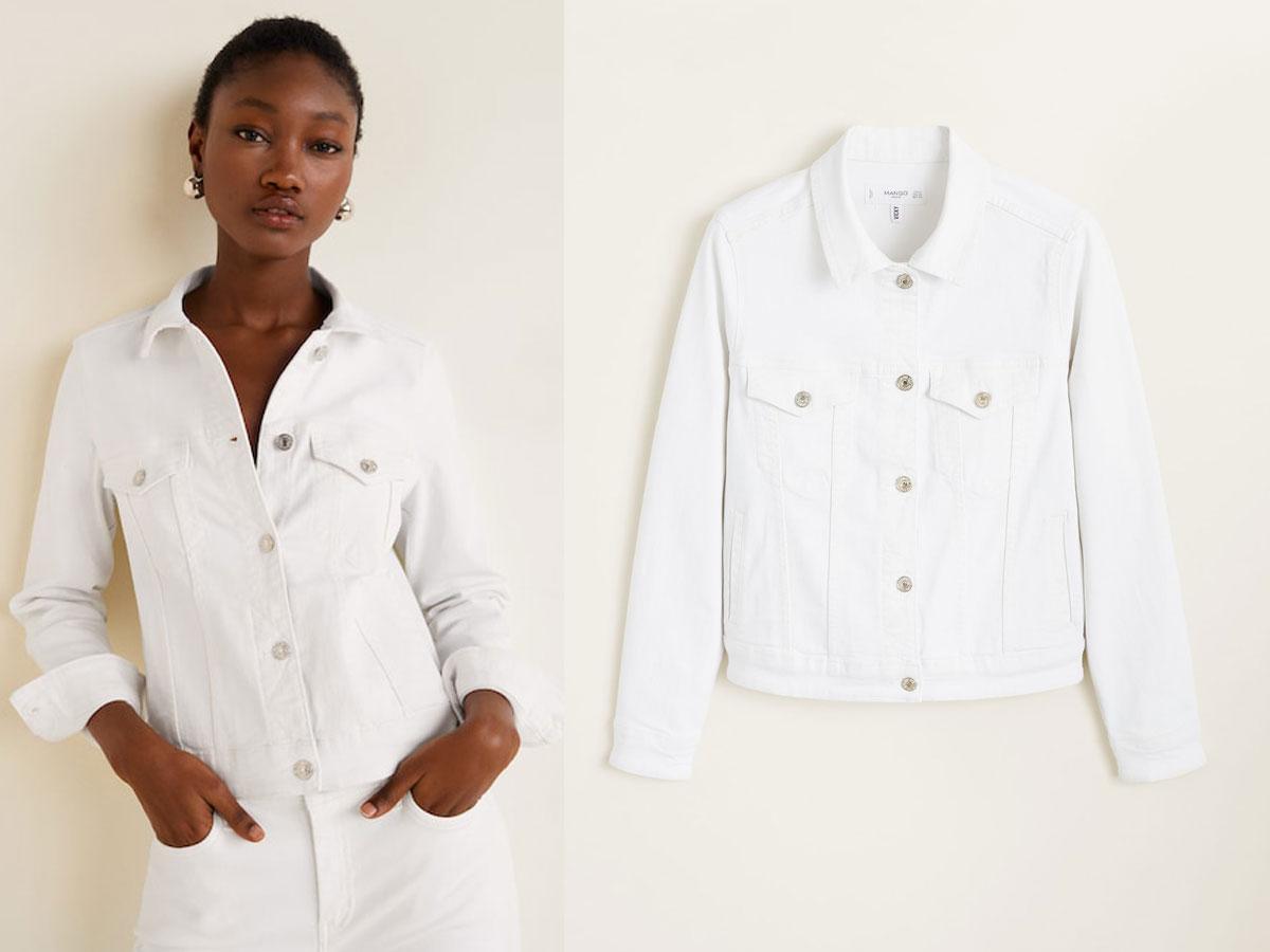 Biała kurtka dżinsowa Mango