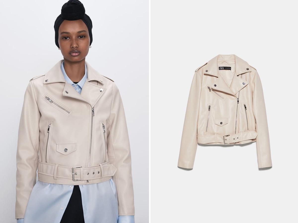 biała ramoneska Zara
