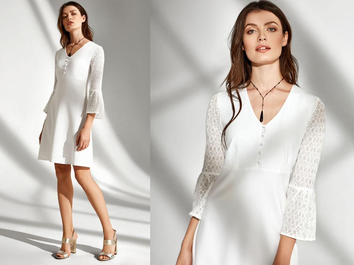 Ażurowa biała sukienka lato 2019