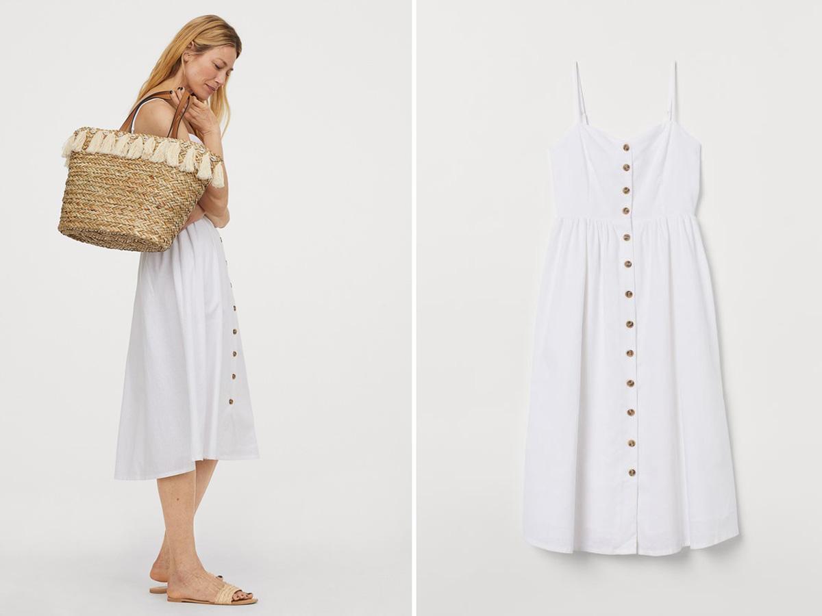 biała sukienka z guzikami H&M