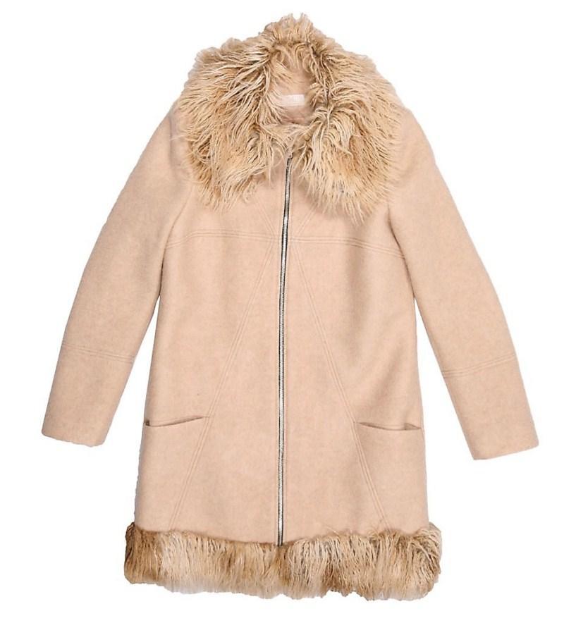 beżowy płaszcz Bialcon z futerkiem - jesień/zima