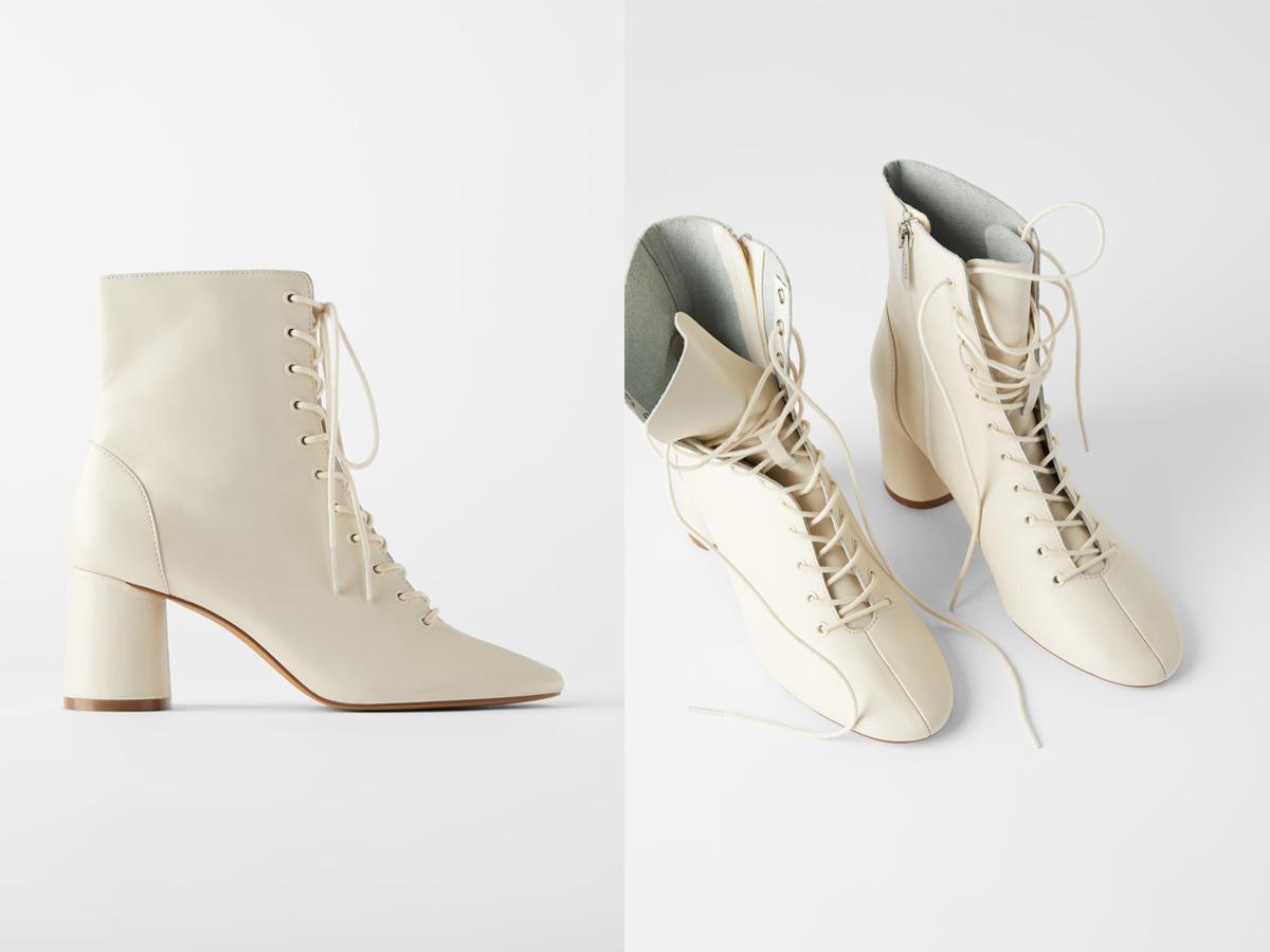 białe sznurowane botki Zara