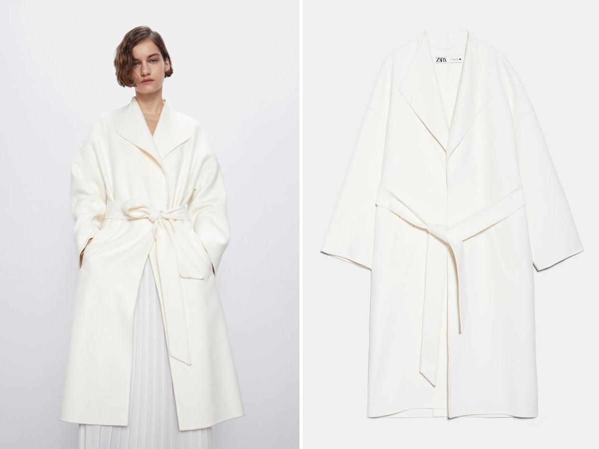biały płaszcz oversize z Zary