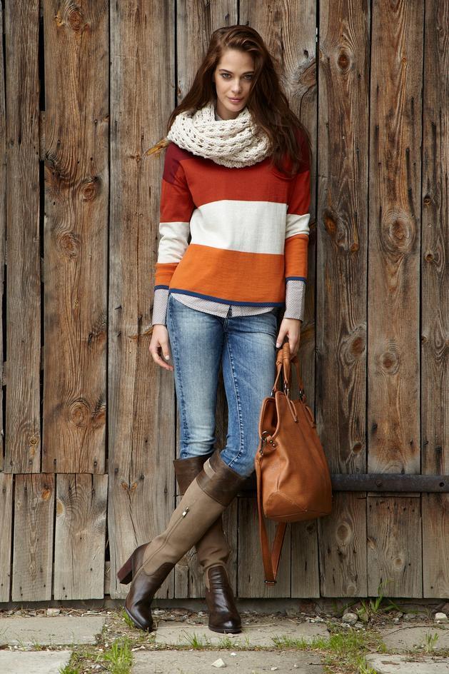 pomarańczowy sweter Big Star w pasy - jesień 2013
