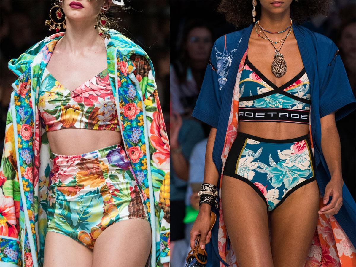 Bikini, stroje dwuczęściowe w tropikalne wzory lato 2019