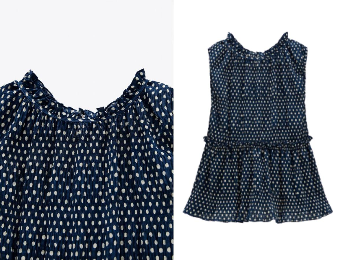 Granatowa bluzka w kropki Zara