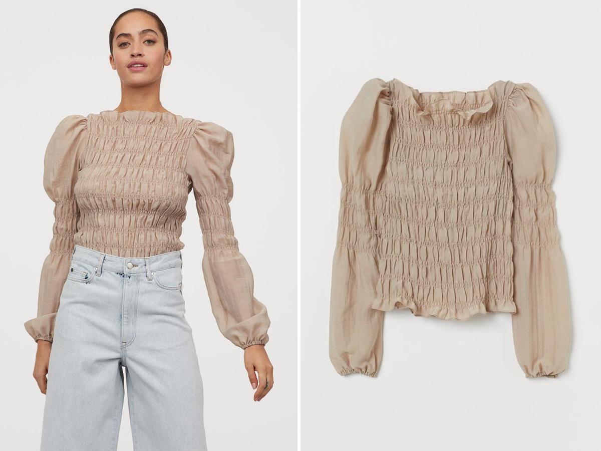 bluzka z marszczeniami H&M