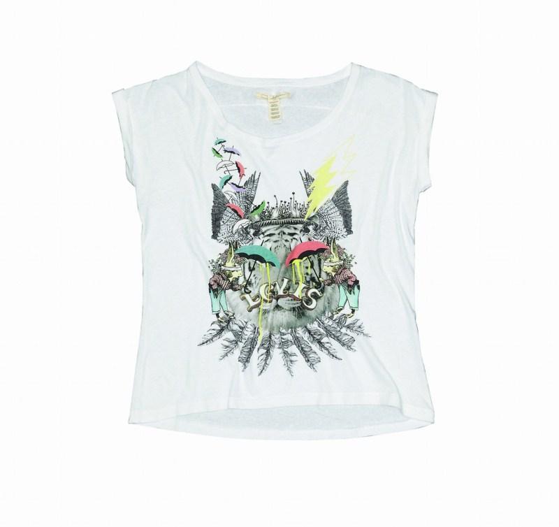 biały bluzka Levis z nadrukiem - wiosna/lato 2011