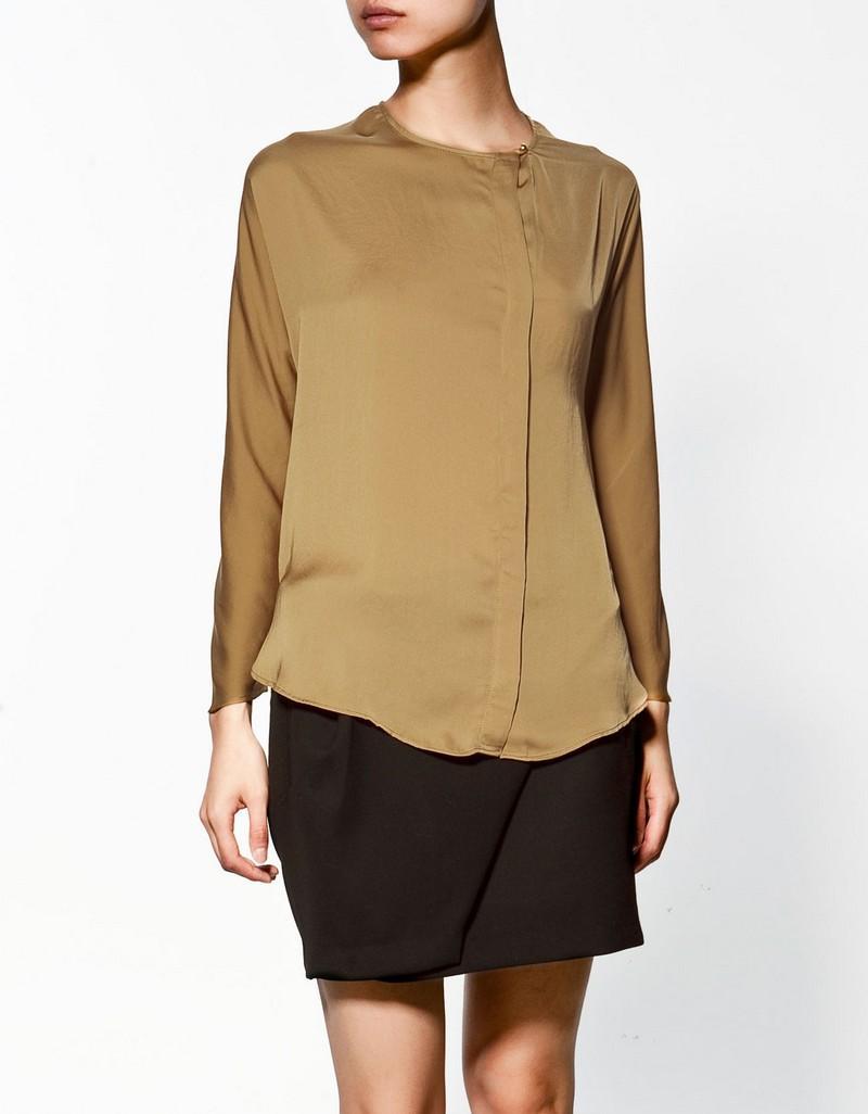 brązowa bluzka ZARA trendy zimowe Bluzki i koszule  kmtZO