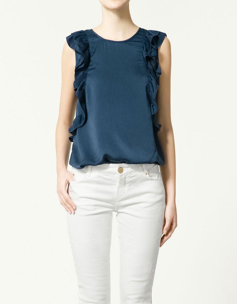 granatowa bluzka ZARA - wiosenna kolekcja