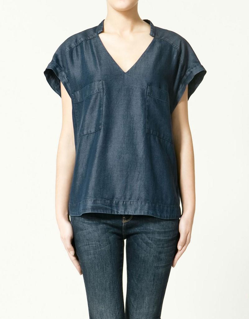 granatowa bluzka ZARA - kolekcja na lato