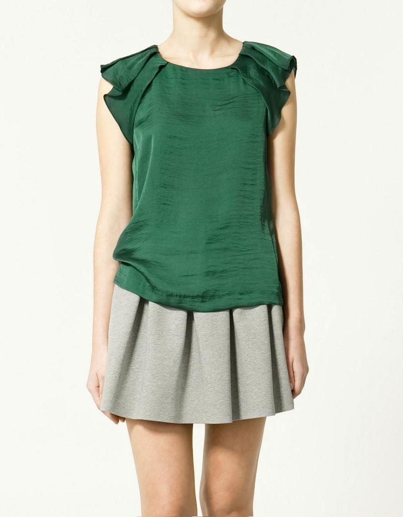 zielona bluzka ZARA - moda wiosna/lato