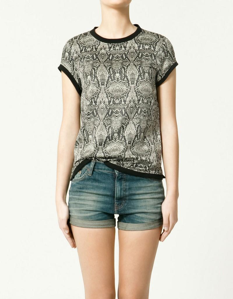 popielata bluzka ZARA we wzory - trendy wiosna-lato