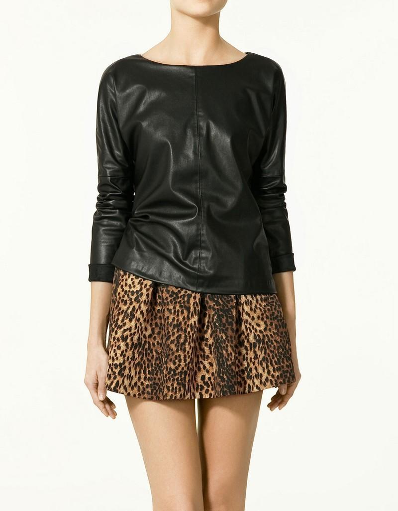 czarna bluzka ZARA ze skóry - moda wiosna/lato