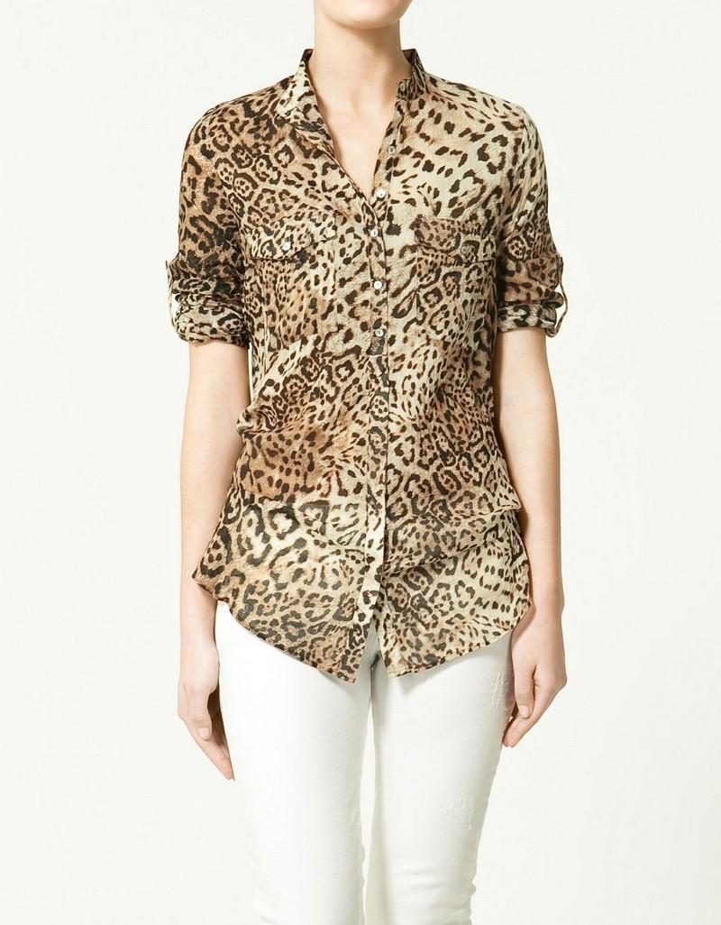 brązowa koszula ZARA w panterkę - kolekcja letnia