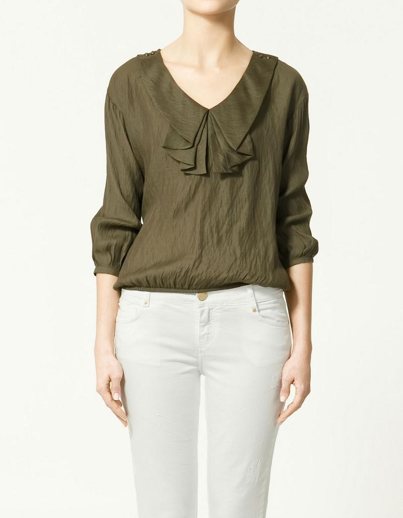 khaki bluzka ZARA - wiosna 2011