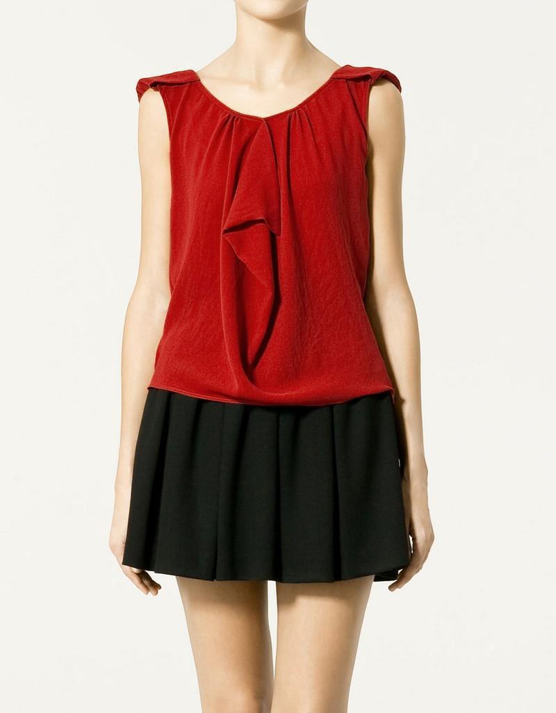 czerwona bluzka ZARA - z kolekcji wiosna-lato 2011