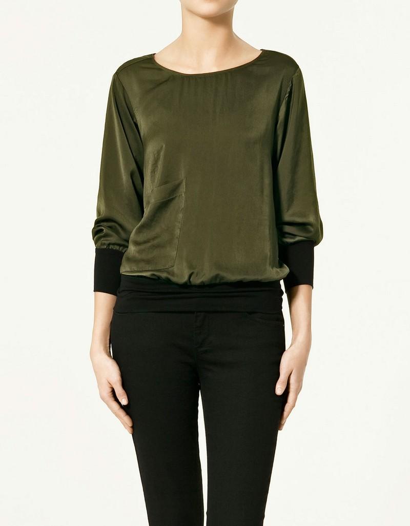 ciemnozielona bluzka ZARA - wiosna 2011