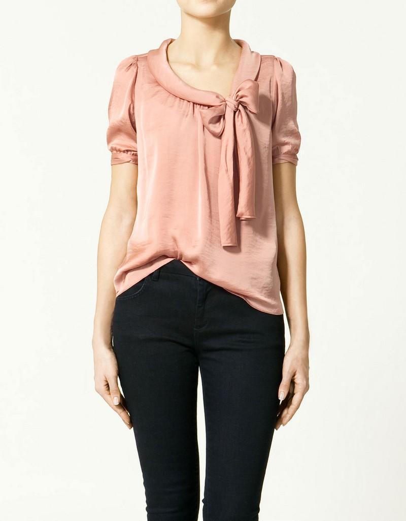 różowa bluzka ZARA z kokardą - wiosna-lato 2011